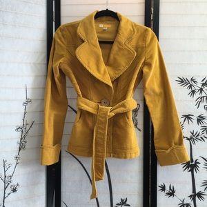 Anthropologie Tulle Corduroy Yellow Jacket